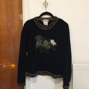 Vintage jungle sweater w suede embroidered animals